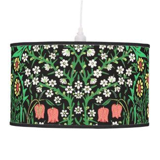 William Morris Jacobean Floral, Black Background Ceiling Lamps