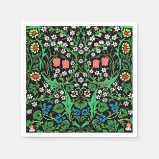 William Morris Jacobean Floral, Black Background Paper Napkins