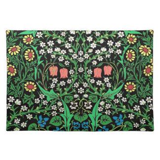 William Morris Jacobean Floral, Black Background Placemat