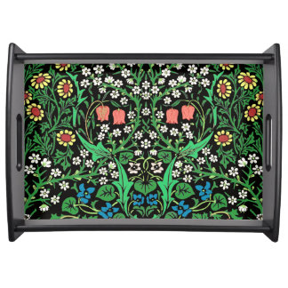 William Morris Jacobean Floral, Black Background Serving Tray