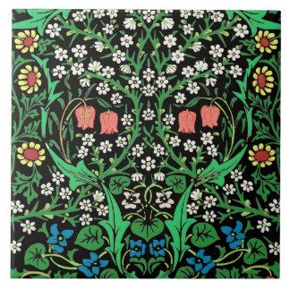 William Morris Jacobean Floral, Black Background Tiles