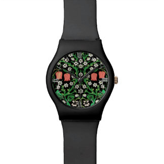 William Morris Jacobean Floral, Black Background Watch