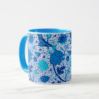 William Morris Jacobean Floral, Cobalt Blue Mug