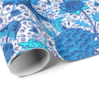 William Morris Jacobean Floral, Cobalt Blue Wrapping Paper