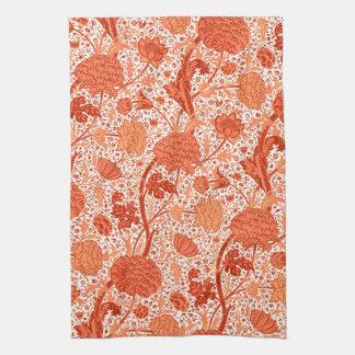 William Morris Jacobean Floral, Coral Orange Kitchen Towels