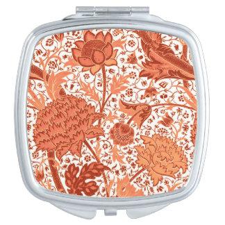 William Morris Jacobean Floral, Coral Orange Mirror For Makeup