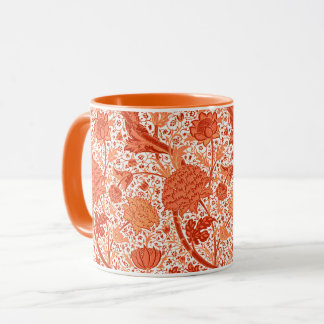 William Morris Jacobean Floral, Coral Orange Mug