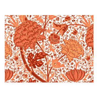 William Morris Jacobean Floral, Coral Orange Postcard