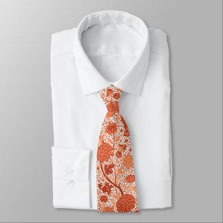 William Morris Jacobean Floral, Coral Orange Tie