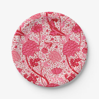 William Morris Jacobean Floral, Coral Pink 7 Inch Paper Plate