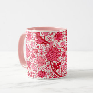 William Morris Jacobean Floral, Coral Pink Mug