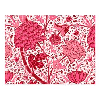 William Morris Jacobean Floral, Coral Pink Postcard