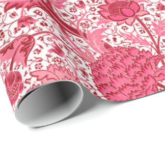 William Morris Jacobean Floral, Coral Pink Wrapping Paper