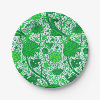 William Morris Jacobean Floral, Emerald Green 7 Inch Paper Plate