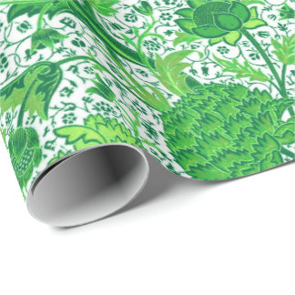 William Morris Jacobean Floral, Emerald Green Wrapping Paper