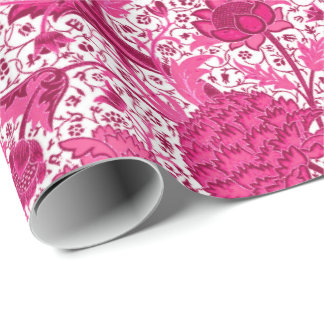 William Morris Jacobean Floral, Fuchsia Pink Wrapping Paper