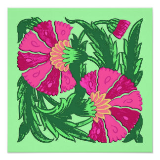 William Morris Jacobean, Fuchsia Pink and Green Poster