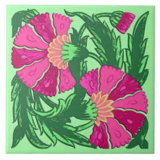 William Morris Jacobean, Fuchsia Pink and Green Tile