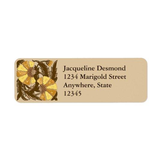 William Morris Jacobean, Mustard Gold and Brown Return Address Label