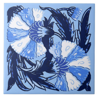 William Morris Jacobean, Navy and Light Blue Tile