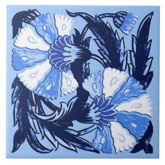 William Morris Jacobean, Navy and Light Blue Tile
