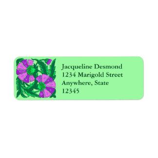 William Morris Jacobean, Orchid Purple and Green Return Address Label