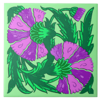 William Morris Jacobean, Orchid Purple and Green Tile