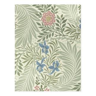 William Morris Larkspur Floral Pattern Postcard