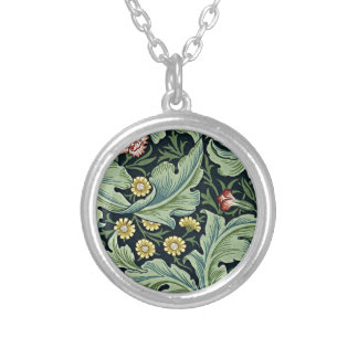 William Morris - Leicester vintage floral design Round Pendant Necklace