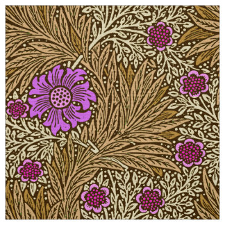 William Morris Marigold, Brown, Beige and Violet Fabric
