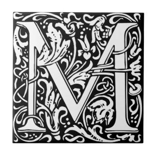 William Morris Monogrammed Letter M Tile