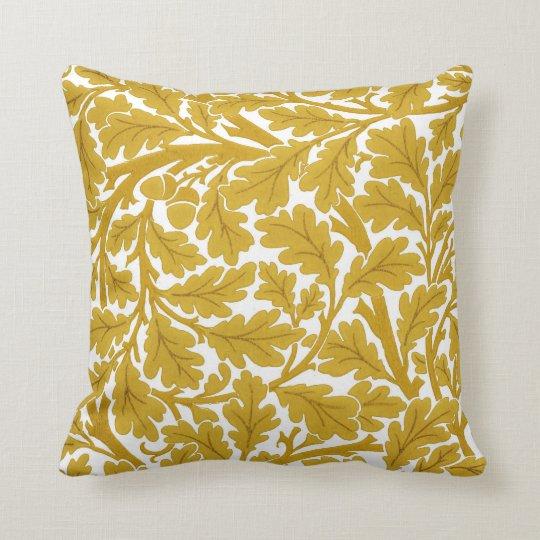 William Morris Oak Leaves, Mustard Yellow & White Throw Pillow
