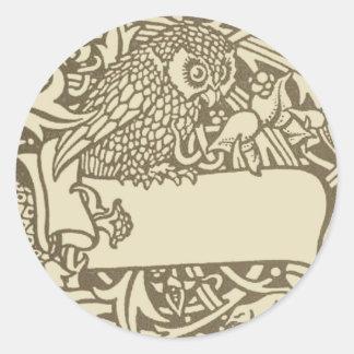 William Morris Owl Floral Vintage Design Classic Round Sticker