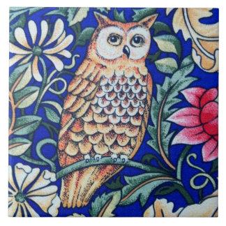 William Morris Owl Tapestry, Beige and Cobalt Blue Ceramic Tile