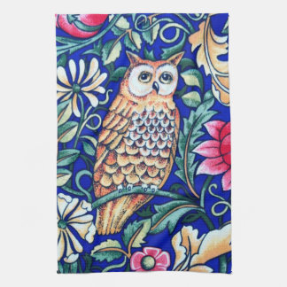 William Morris Owl Tapestry, Beige and Cobalt Blue Kitchen Towels
