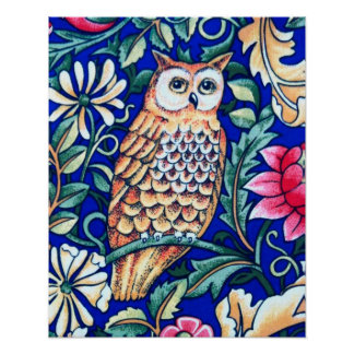 William Morris Owl Tapestry, Beige and Cobalt Blue Poster