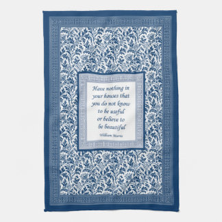William Morris Pattern and Quotation Elegant Blue Kitchen Towel