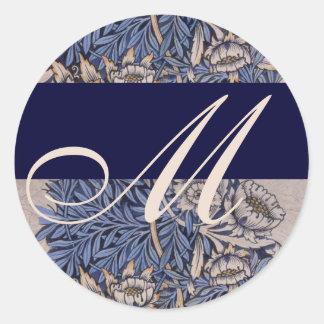 William Morris Pattern Monogram Wedding Sticker