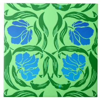 William Morris Pimpernel, Blue & Lime Green Ceramic Tile