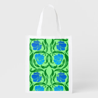 William Morris Pimpernel, Blue & Lime Green Reusable Grocery Bag