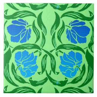 William Morris Pimpernel, Blue & Lime Green Tile