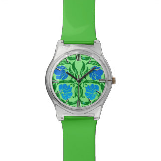 William Morris Pimpernel, Blue & Lime Green Watch