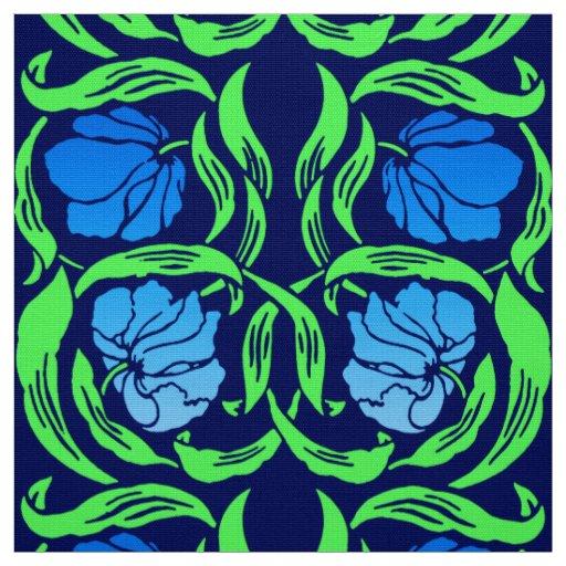 William Morris Pimpernel, Cobalt Blue and Green Fabric