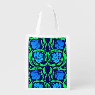 William Morris Pimpernel, Cobalt Blue and Green Reusable Grocery Bag