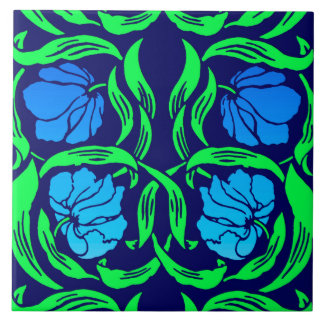 William Morris Pimpernel, Cobalt Blue and Green Tile