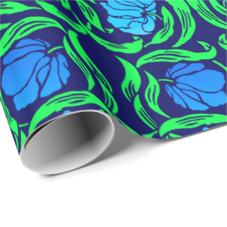 William Morris Pimpernel, Cobalt Blue and Green Wrapping Paper