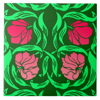 William Morris Pimpernel, Coral Pink and Green Ceramic Tiles