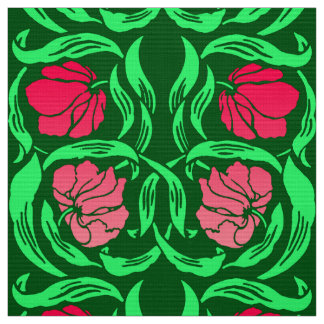 William Morris Pimpernel, Coral Pink and Green Fabric