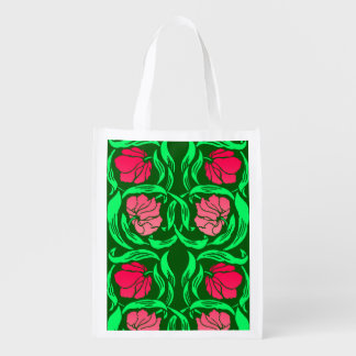 William Morris Pimpernel, Coral Pink and Green Reusable Grocery Bag