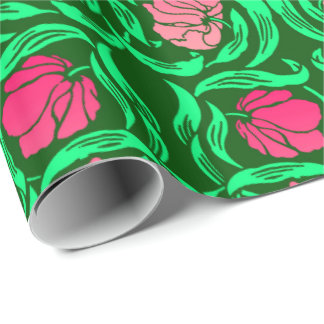 William Morris Pimpernel, Coral Pink and Green Wrapping Paper